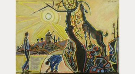 John Craxton, Landscape with Derelict Windmill, 1958